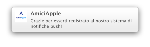 Notifica di benvenuto - AmiciApple