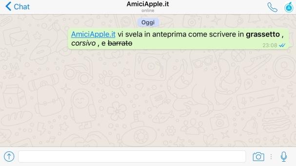 Formattazioni testuali WhatsApp